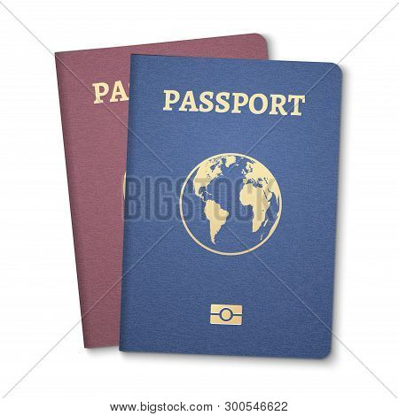 Passport document ID. International pass for tourism travel. Emigration passport citizen ID with globe poster