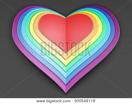 Rainbow Multi-layered Valentine Made Of Multi-colored Paper. Congratulations On Valentines Day. Tole