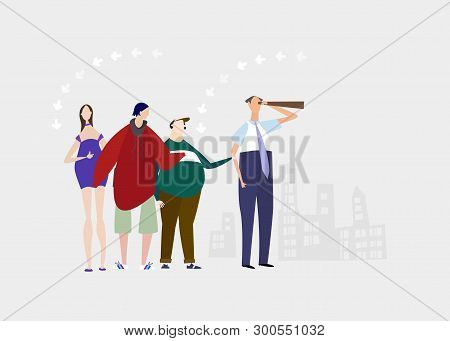 Person Looking With Telescope And His Family Or Friends Standing Behind. Everyday Life Concept