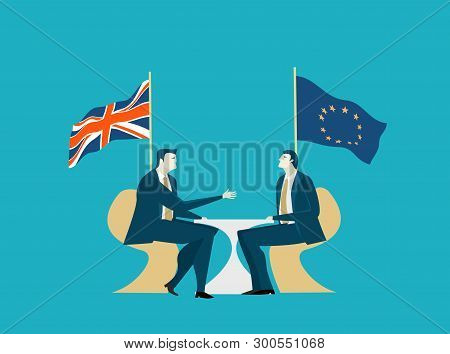 Brexit Negotiation. Two Business People On The Meeting