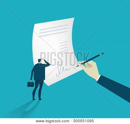 Signing The Contract. Businessman Watching Signing The Contract. Business Concept Illustration