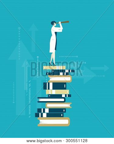 Doctor Stands On The Pile Of Books And Looking To The Future With Telescope. Knowledge, Data, Intell