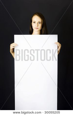 Business Woman Holding Blank Ad Sign