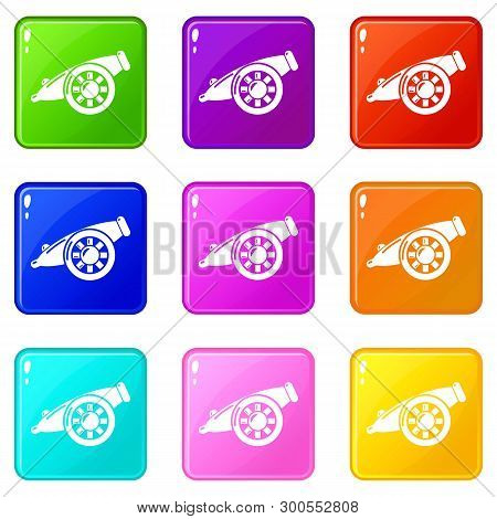 Artillery Cannon Icons Set 9 Color Collection Isolated On White For Any Design