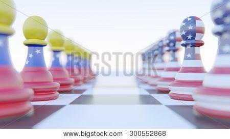 Conflict Between Venezuela And Usa Chess, 3d Rendering