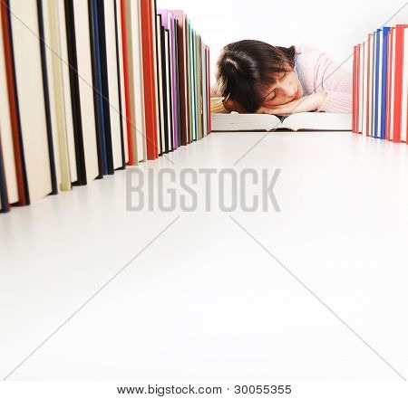 Student Fell Asleep  While Doing His Homework. Similar Pictures On My Portfolio