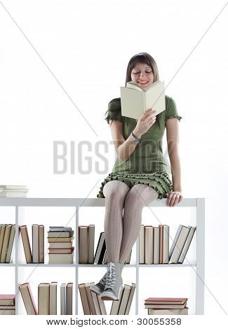 Young Woman Holding An Open Book . Cover Is Blank