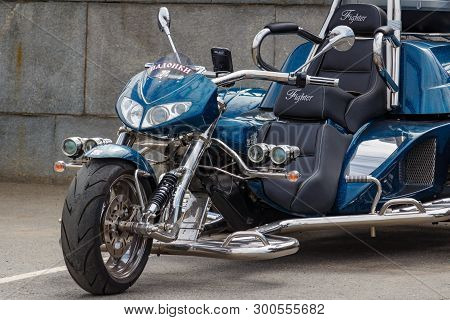 Moscow, Russia - May 04, 2019: Chromed Boom Tourist Trike In A Parking At Sunny Day. Moto Festival M