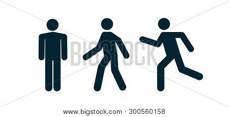 Man Stand Walk And Run Pictogram Icon. Man Pedestrian Sign People And Road Traffic Vector Silhouette