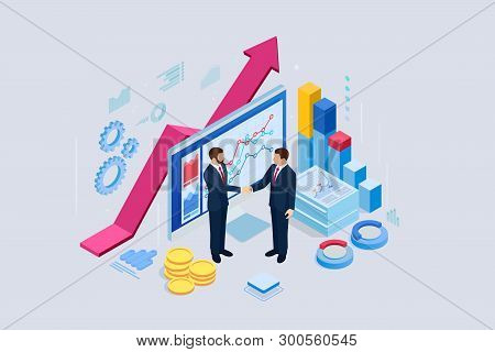 Isometric B2b Sales Method. Partners Shaking Hands. Successful Entrepreneurs. Data And Key Performan