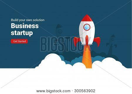 Business Startup Rocket Launch Flat Vector Illustration. Startup Space Design Rocketship Innovation