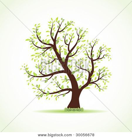Vector illustration of beautiful spring tree with fresh new leaves and grass.