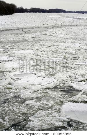 Frozen River Danube With Danger Ice
