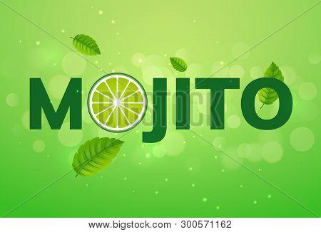 Mojito Drink Vector Cocktail Splash. Lemon Juice Lime Soda Green Advertising Mojito Drink Background