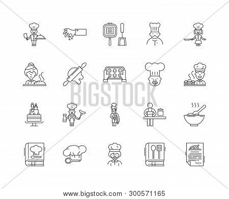 Cookery Schools Line Icons, Signs, Vector Set, Outline Illustration Concept