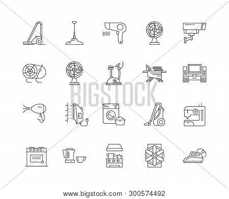 Electric Housewares Line Icons, Signs, Vector Set, Outline Illustration Concept