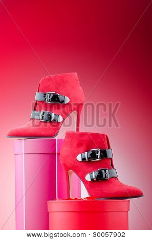 Woman shoes in the fashion concept