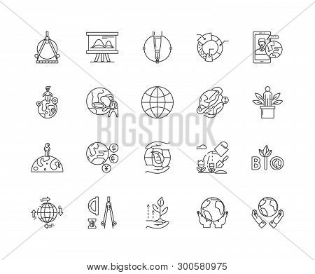 Geodesy Line Icons, Signs, Vector Set, Outline Illustration Concept