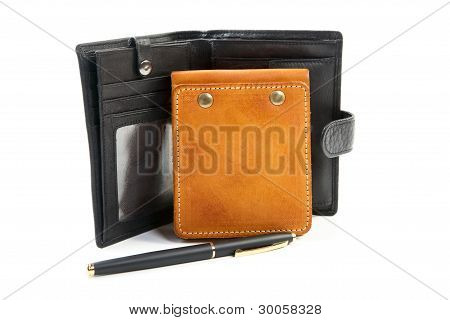 Leather Purse An Organizer A Pen Isolated