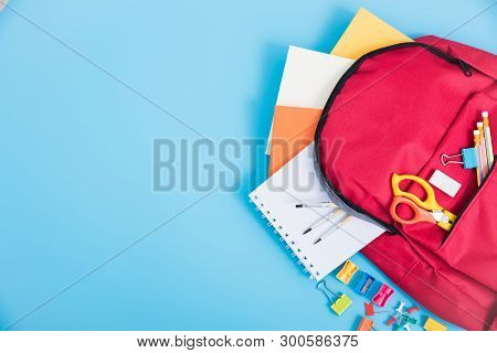 Top View Red Bag Backpack For Education Children