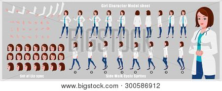 Female Doctor Character Model Sheet With Walk Cycle Animation Sequence
