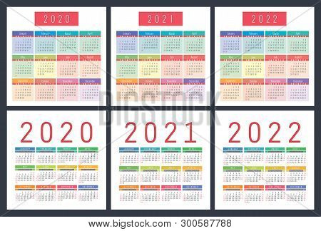 Calendar 2020, 2021, 2022 Years. Pocket Vector Calender. Colorful Set. Week Starts On Sunday. Basic
