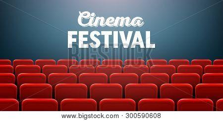 Creative Vector Illustration Of Movie Cinema Screen Frame And Theater Interior. Art Design Premiere