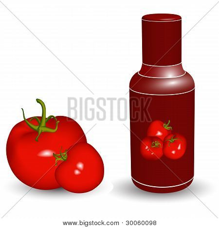 Ketchup Bottle With Tomatoes