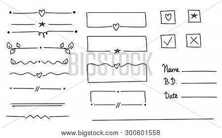 Ornament Dividers With Heart, Star, Leaf. Hand Drawn Decoration, Ornamental Divider And Sketch Leave