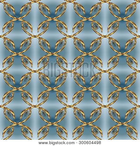 Vintage. Vector. Seamless Doodles Blue, Neutral And Brown On Colors. Stylish Fabric Pattern.