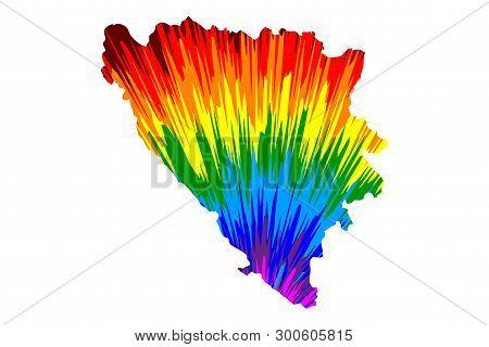 Bosnia And Herzegovina - Map Is Designed Rainbow Abstract Colorful Pattern, Bosnia-herzegovina (bih)