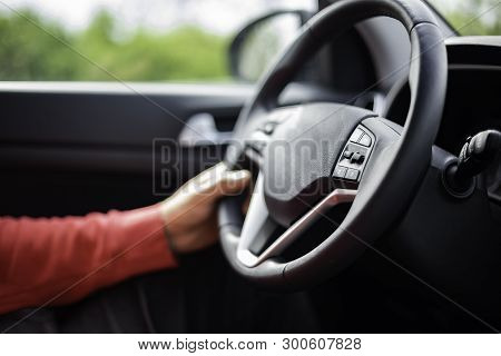 Man Hand Holding Car Steering Wheel - Male Hand Close Up Shallow Dof Depth Of Field Driving Car - Ha