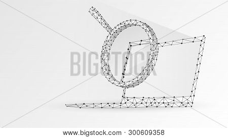 Magnifying Glass On Laptop Screen. Business, Internet Surfing, Analysis, Search Symbol. Abstract Dig