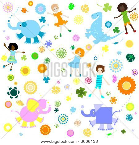 kids background; seamless pattern with children and colorful flowers poster