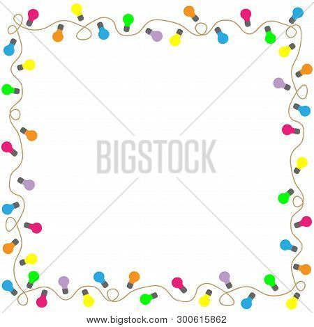 Frame Colorful Lamps. Ornate Framework Isolated On White Background. Modern Art Scoreboard. Decorati