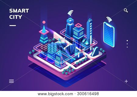 Smart City Or Isometric Town. 3d Skyscrapers And Smartphone With Wi-fi Or Internet Of Things, Iot Or