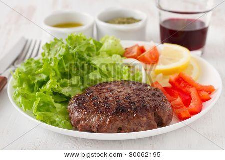 Grilled Hamburger With Salad