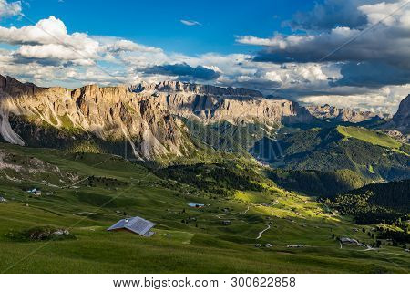 Amazing view of Odle mountain range in Seceda, Dolomites, Italy.