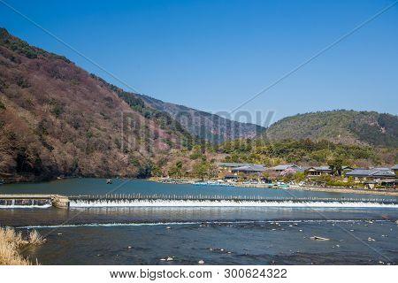 Arashiyama Mountain And Katsura River In Kyoto, Japan.