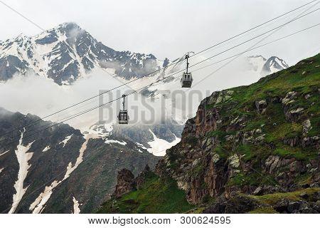 Ropeway In Caucasus Mountains. Ski Lift In Mountain. Beautiful Mountain Landscape Of Caucasus. Mount