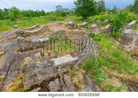 Old Foundation Of The Destroyed Building On The Stone Coast Of The White Sea In The Vicinity Of The