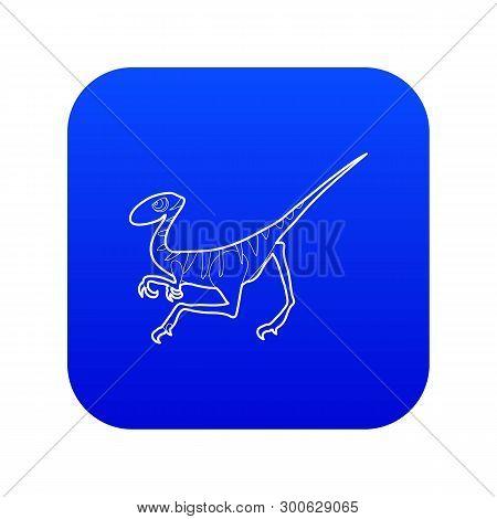 Velociraptor Icon Blue Vector Isolated On White Background