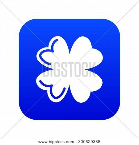 Quatrefoil Leaf Icon Blue Vector Isolated On White Background