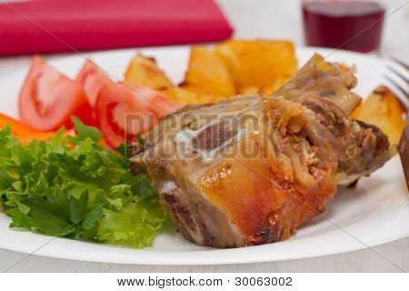 Pork With Potato And Salad