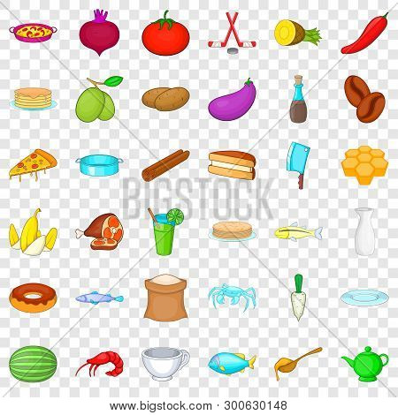 Cookery Icons Set. Cartoon Style Of 36 Cookery Vector Icons For Web For Any Design
