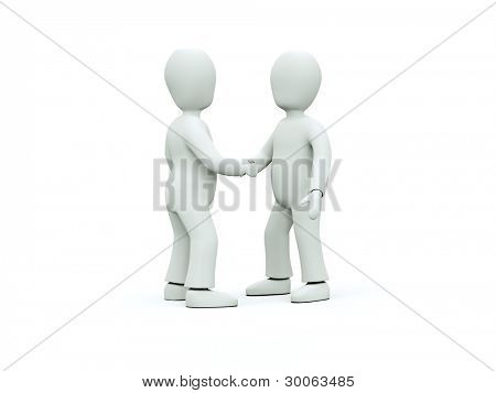 3D characters in ties shake hands on a white background