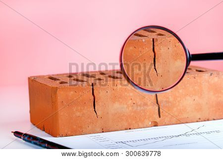 Bad Brick. Defect Construction. Broken Product In Manufacturing.