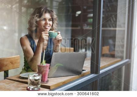 Attractive Stylish Female Entrepreneur Working Outside Office Sit Cafe Look Outside Window Passersby