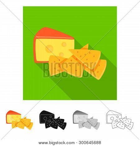 Isolated Object Of Cracker And Appetizer  Sign. Collection Of Cracker And Lactic Vector Icon For Sto