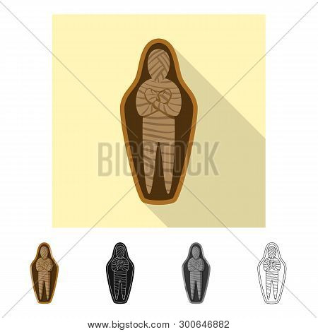 Isolated Object Of Mummy And Ancient Icon. Collection Of Mummy And Afterlife Vector Icon For Stock.